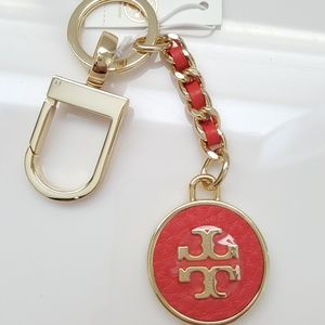 NEW Tory Burch gold logo Leather Key Fob bag charm